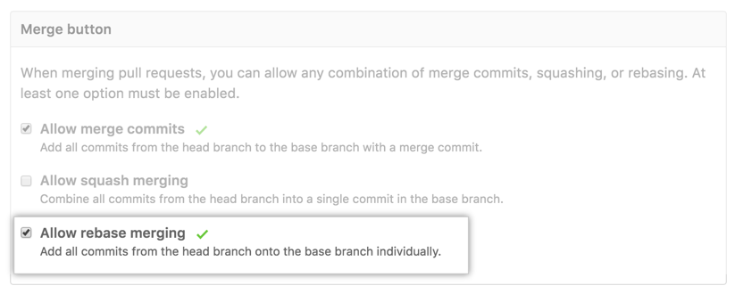 Commits com rebase da pull request