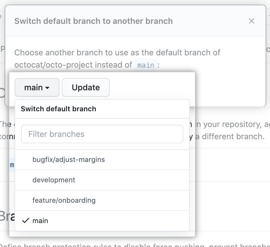 Drop-down to choose new default branch