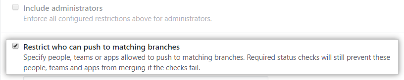 Branch restriction checkbox