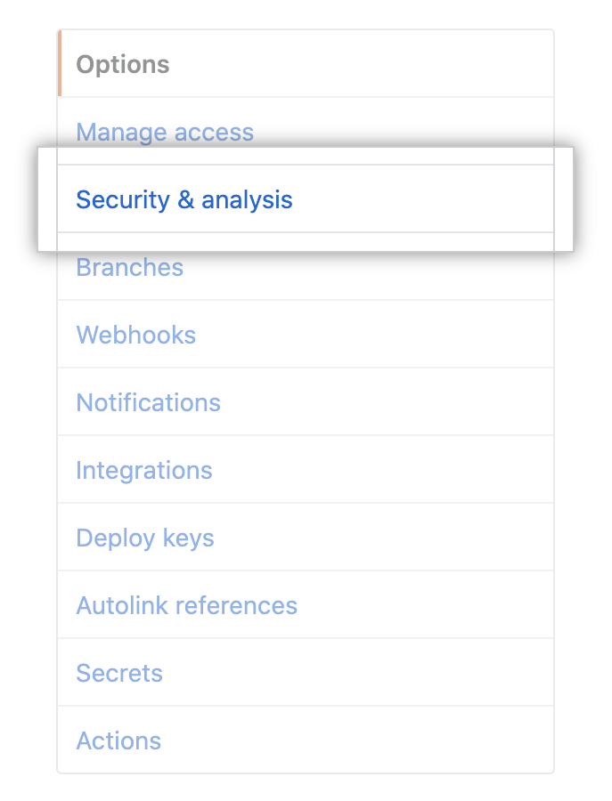 """Security & analysis"" tab in repository settings"