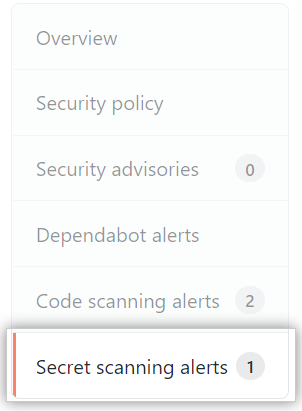 """Secret scanning alerts"" tab"
