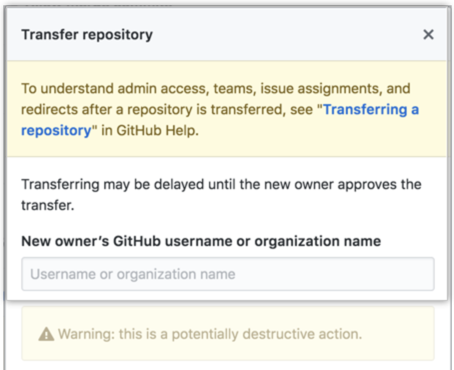Information about repository transfer and field to type the new owner's username