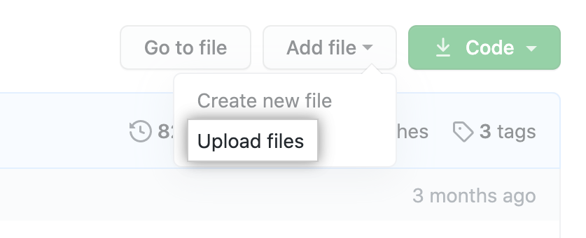 """Upload files"" in the ""Add file"" dropdown"