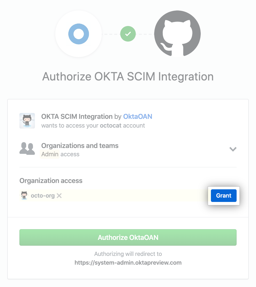 """Grant"" button for authorizing Okta SCIM integration to access organization"