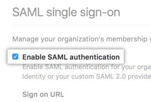 Checkbox for enabling SAML SSO