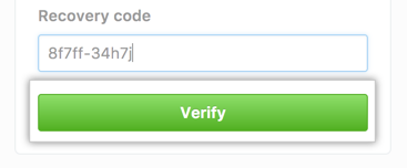 Button to verify your recovery code