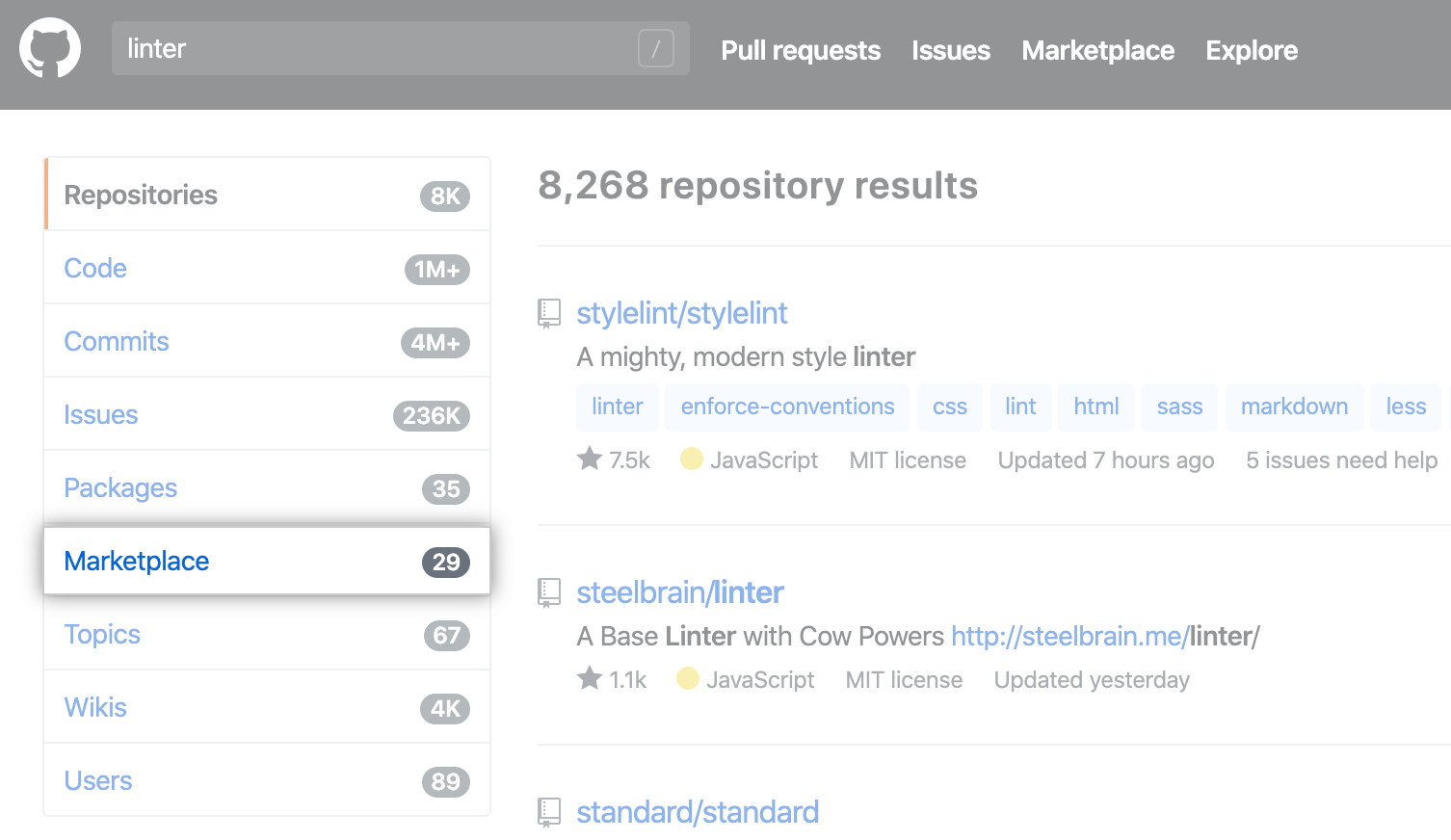 Search results for linter with Marketplace side-menu option highlighted