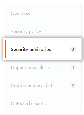 Security advisories tab