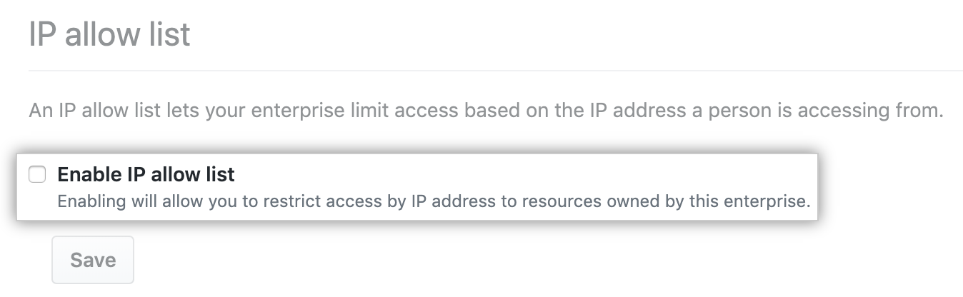 Checkbox to allow IP addresses