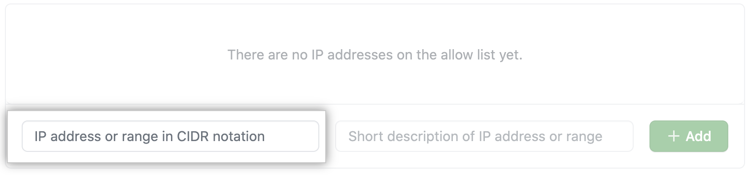 Key field to add IP address