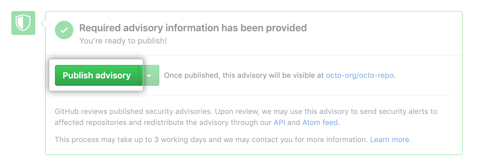 Publish advisory button