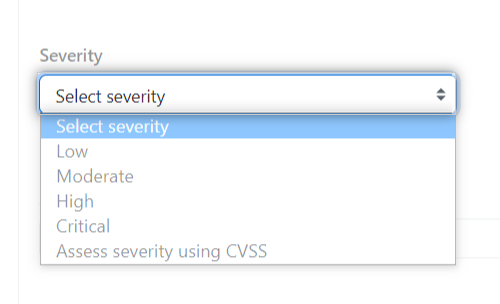 Drop-down menu to select the severity