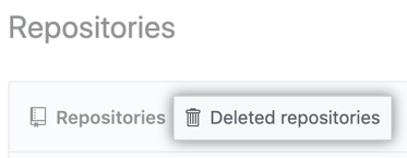 Deleted repositories tab