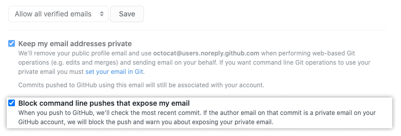 Option to block command line pushes that expose your emails