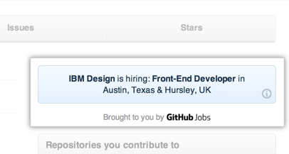 GitHub Jobs ads on the dashboard