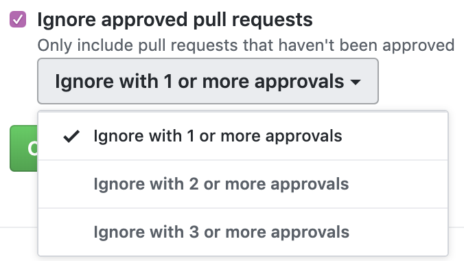 Ignore approved pull requests checkbox