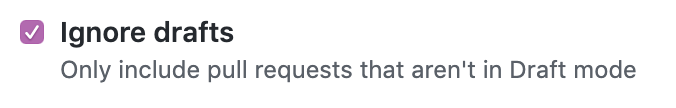 Ignore draft pull requests checkbox