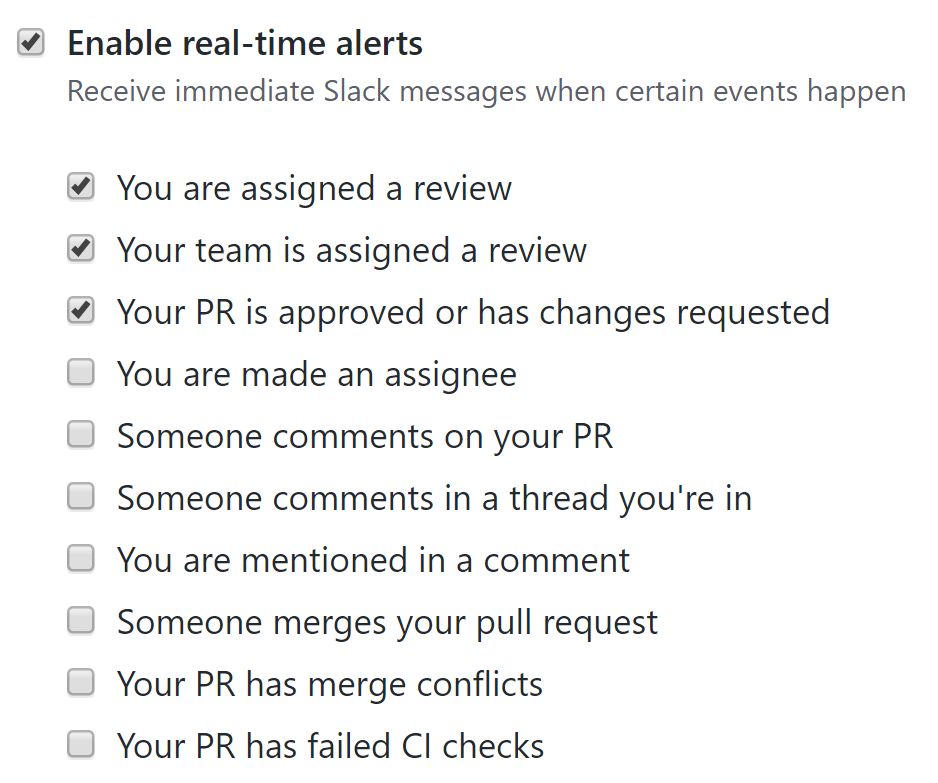 Enable real-time alerts checkbox