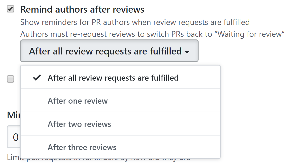 Remind authors after reviews checkbox