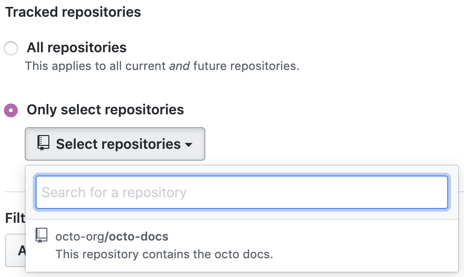Choose tracked repositories