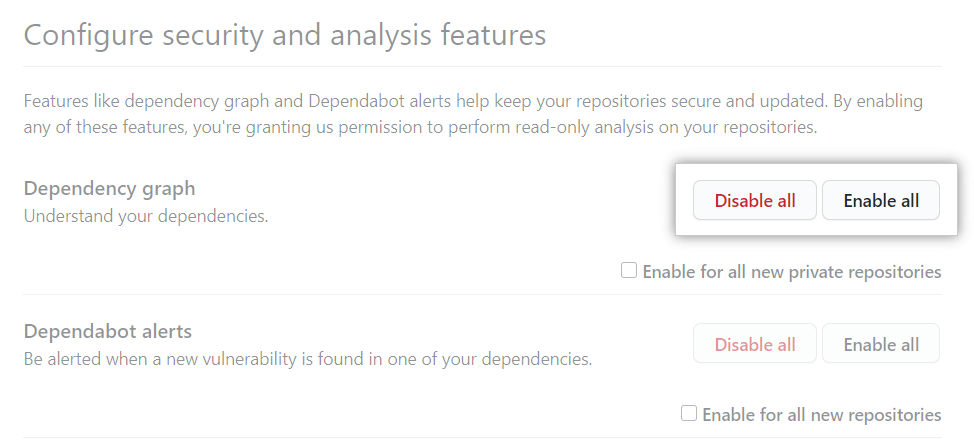 """Enable all"" or ""Disable all"" button for ""Configure security and analysis"" features"
