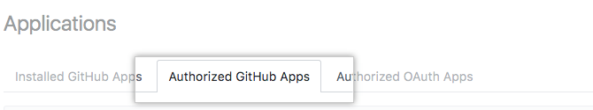 [Authorized GitHub Apps] タブ