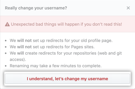 Change Username warning button