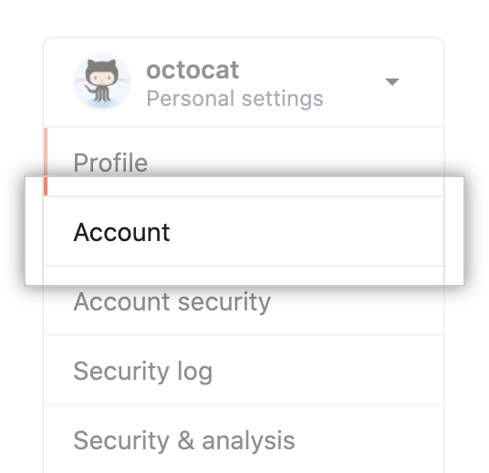 "Menüoption ""Account settings"" (Kontoeinstellungen)"
