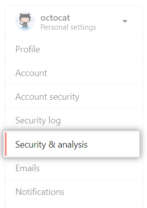 Security and analysis settings
