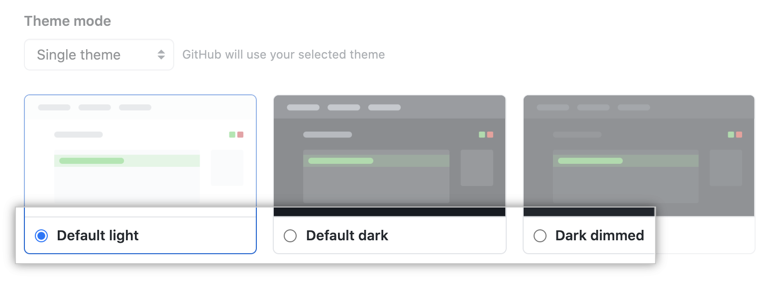 Radio buttons for the choice of a single theme