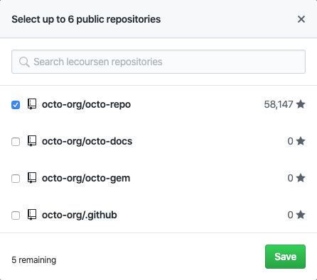 Checkboxes to select repositories
