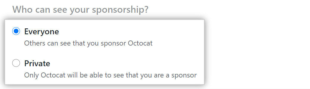 Radio buttons to choose who can see your sponsorship