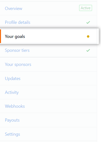 Your goals tab