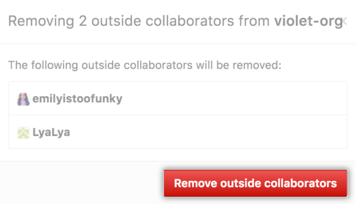 List of outside collaborators who will be removed and Remove outside collaborators button