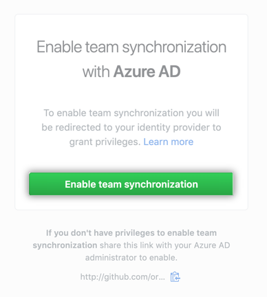 Enable team synchronization redirect button
