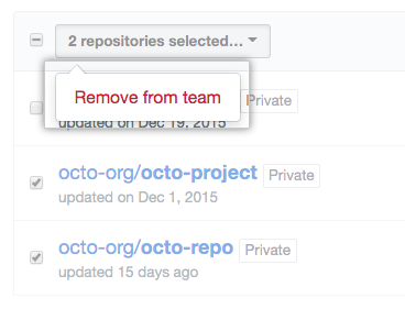 Drop-down menu with the option to remove a repository from a team