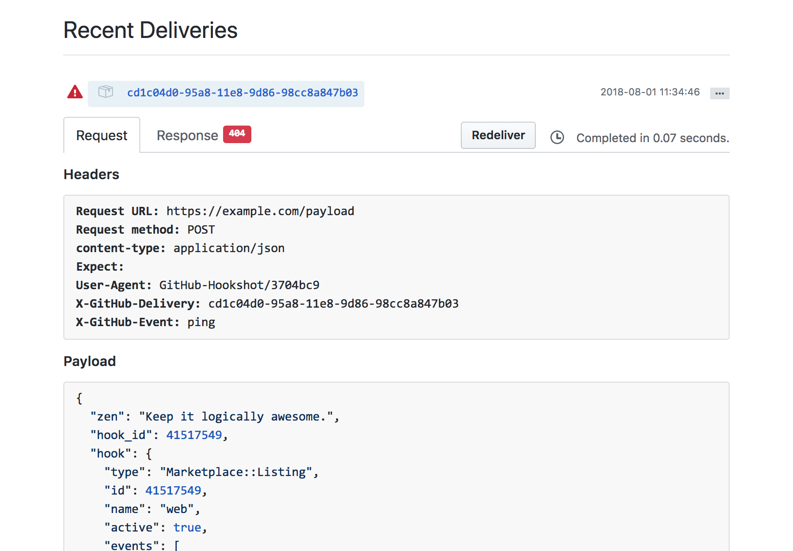 Inspect recent GitHub Marketplace webhook deliveries